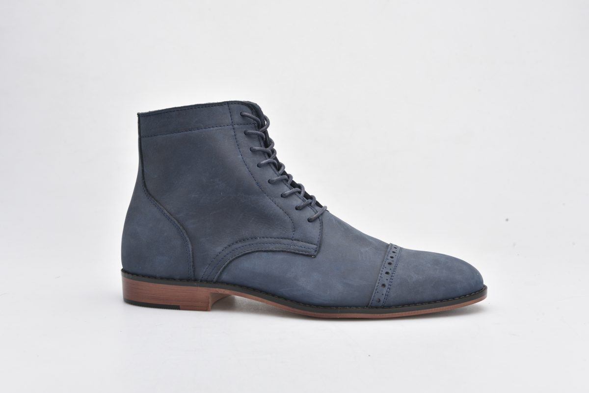 Leather Boots Navy