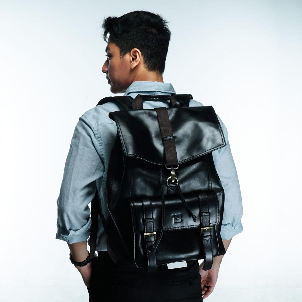 Leather Backpack Black